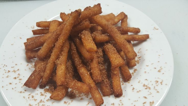 Churro fries composed of funnel cake fries deep fried and