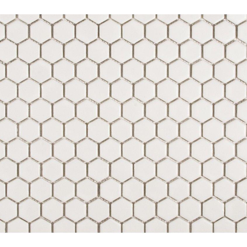 Colonial White Hexagon Porcelain Mosaic Tile 1 Inch Glossy Porcelain Mosaic Tile Porcelain Mosaic Mosaic Flooring