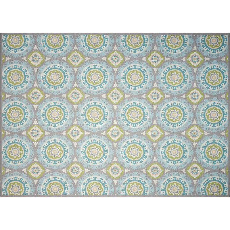 Waverly Sun N' Shade Solar Flare Medallion Indoor Outdoor Rug, White Oth