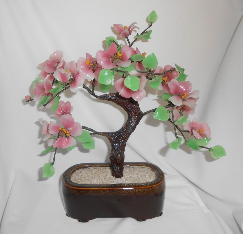 Details about vintage antique large 105 chinese jade quartz bonsai carved jade lotus flower tree japanese chinese vintage home decor izmirmasajfo