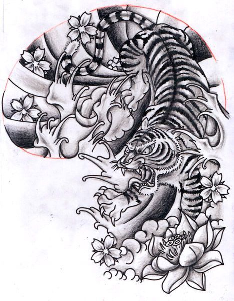 Chinese Flowers And Tiger Tattoo Design Tiger Tattoo Design Tiger Tattoo Sleeve Japanese Tiger Tattoo