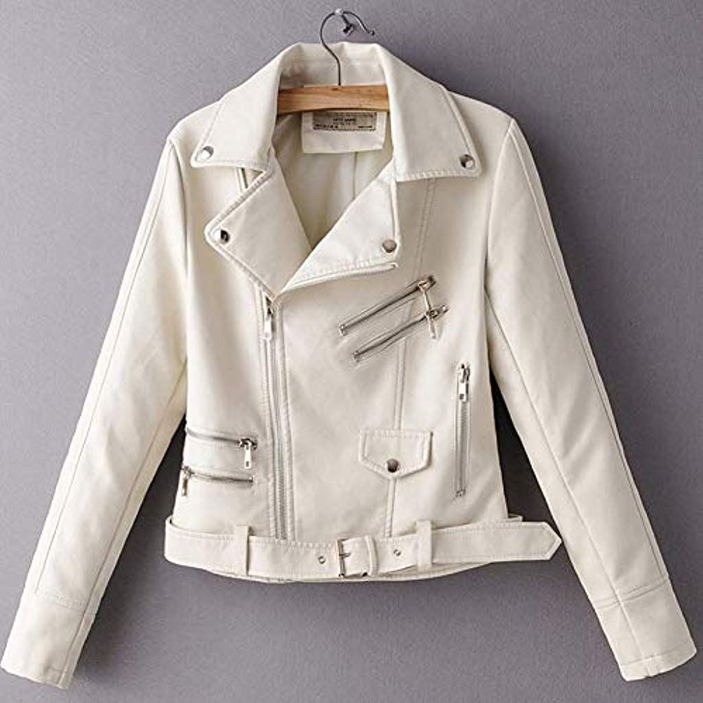 TIKEHAN PU womens jacketBeige PU Lapel Long Sleeve Zip Belt Locomotive Female Coat Korean Version Slim Fit Autumn Womens Jacket Black Red