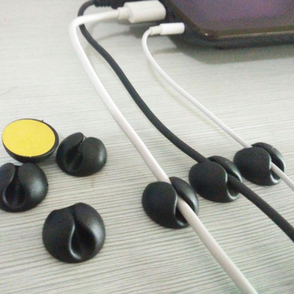 10PCS/lot Black Cable Wire Organizer Cable drop Clip Tidy USB ...