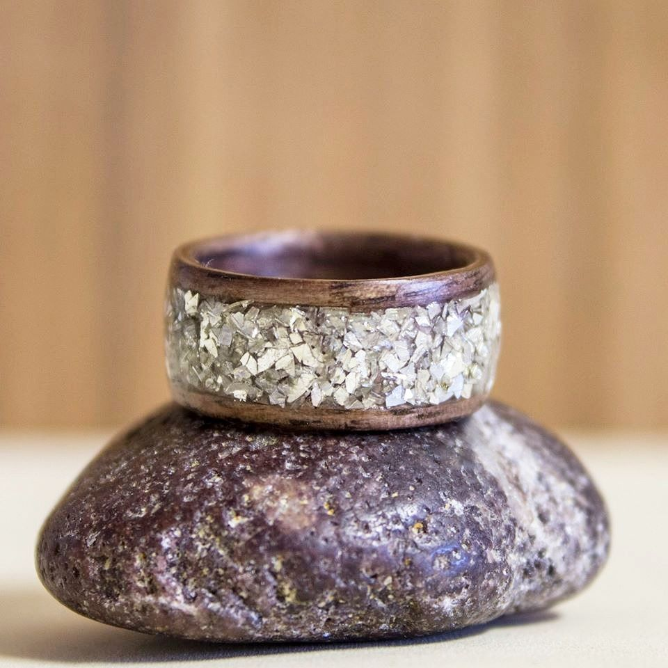 Bentwood rings with stone inlay wooden rings wood rings