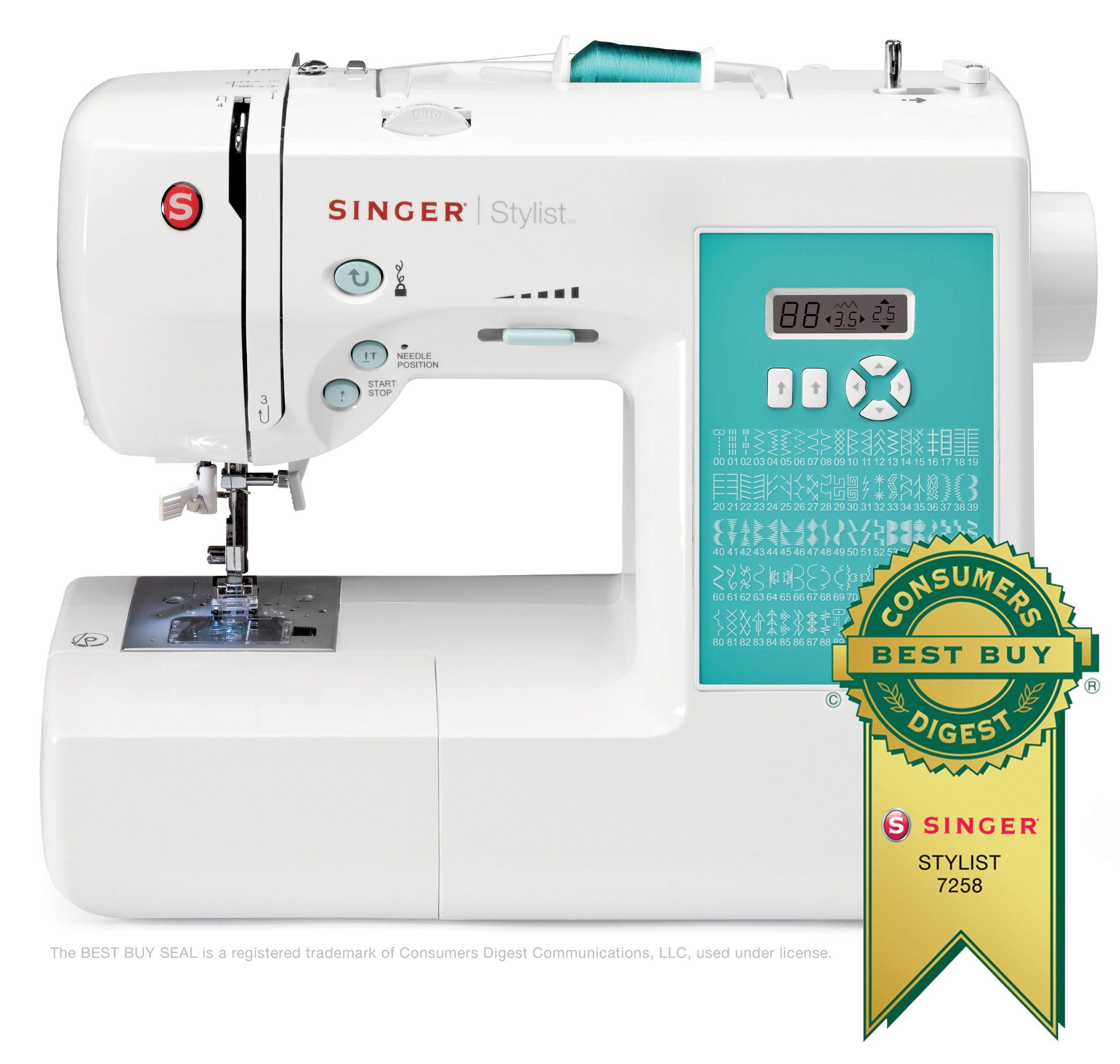 SINGER 7258 Stylist Award-Winning 100-Stitch Computerized Sewing ...