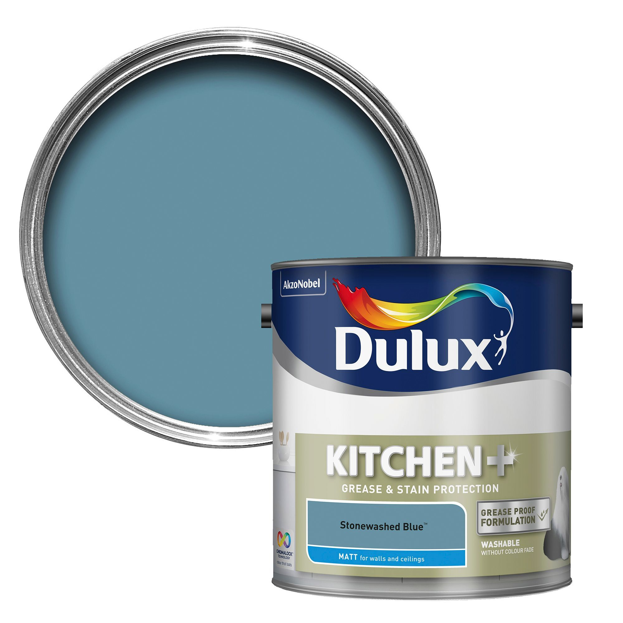 Dulux Kitchen Stonewashed Blue Matt Emulsion Paint 2 5L Kitchen