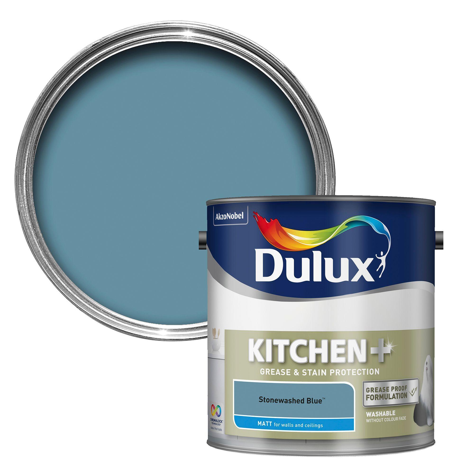 Dulux Kitchen Stonewashed Blue Matt Emulsion Paint 2.5L | Kitchens ...