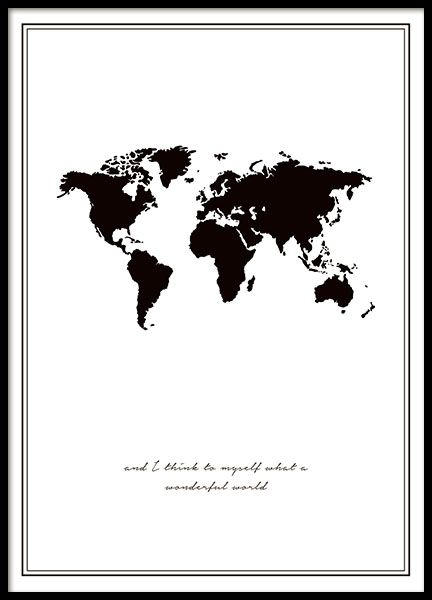 Black poster with world map and text of the song wonderful world black poster with world map and text of the song wonderful world really nice and fits perfectly in one of our lovely frames can also be hung with clips gumiabroncs Images