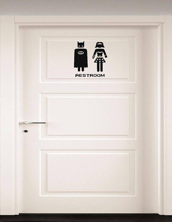 Bathroom Door Superhero art 4 x 6 Batman and wonder woman bathroom door sign