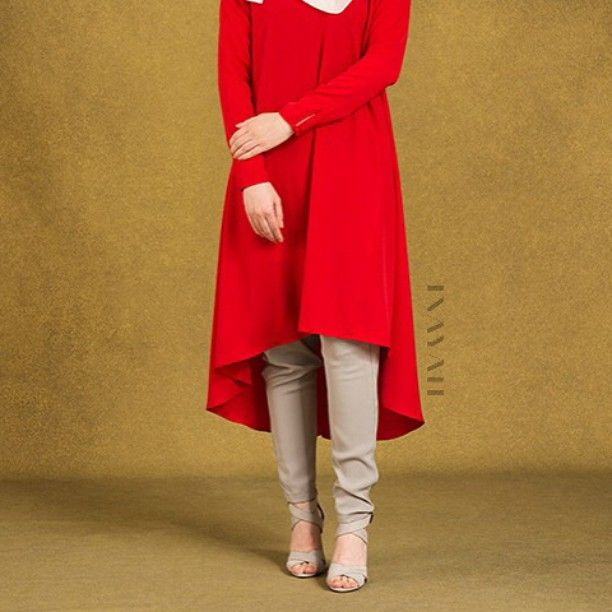 - Channel a bold and captivating style with our statement outfit. Featuring a dash of bold red, and a flowing cut for a touch of formal flair.  Red Crepe Circle Dress Stone Tapered  Trousers White Georgette Hijab  www.inayahcollection.com