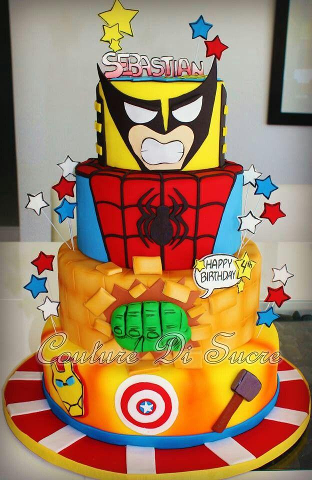 Amazing Super Hero Cake With Wolverine Spiderman Hulk Ironman