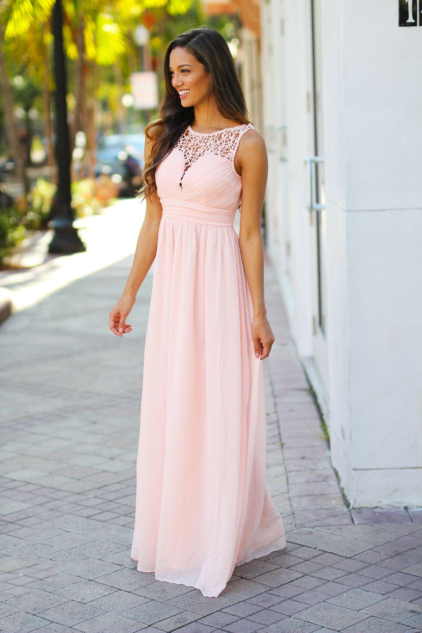 Light Pinky Brown Lip Makeup: Light Pink Crochet Maxi Dress
