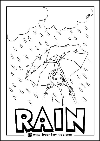 Image of Rainy Day Colouring Page Weather Coloring