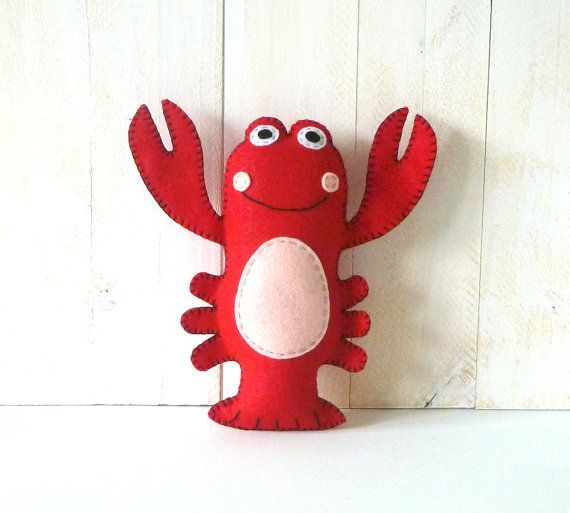Lobster Stuffed Animal Pattern Sew By Hand Felt Lobster Plush Toy
