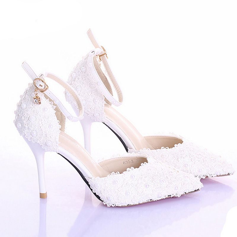 Click to Buy    3 Inches High Heel Ivory Color Bridal Dress Shoes ... 6c2d83b50d7a