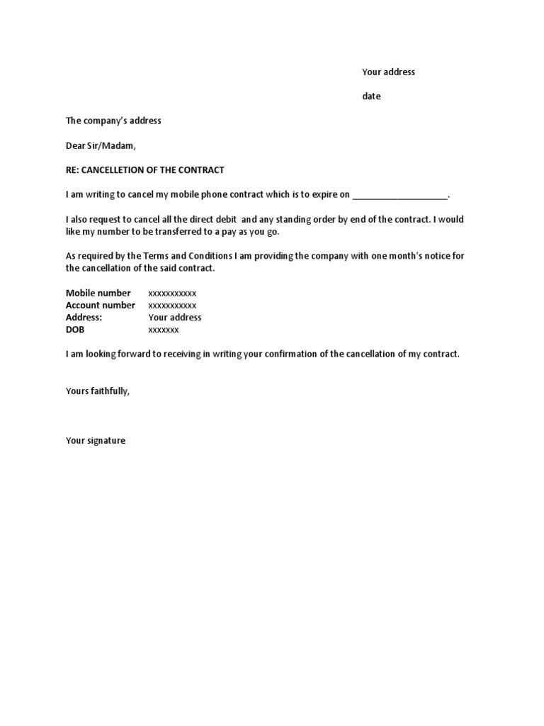 Mobile Phone Cancellation Letter Cancelling Direct Debit Templates