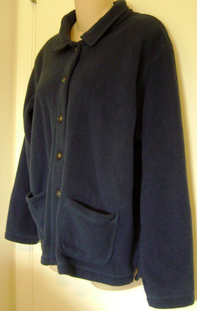 LL Bean Women's Cardigan Fleece Sweater Large Blue Button Front ...