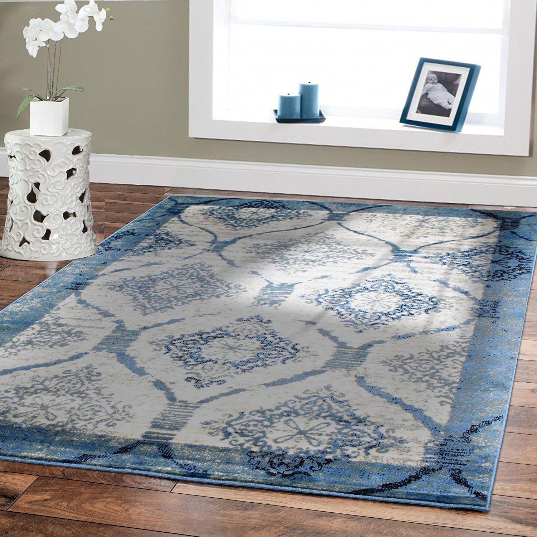 Amazon.com: Contemporary Rugs For Living Room 8x8 Blue Area Rug