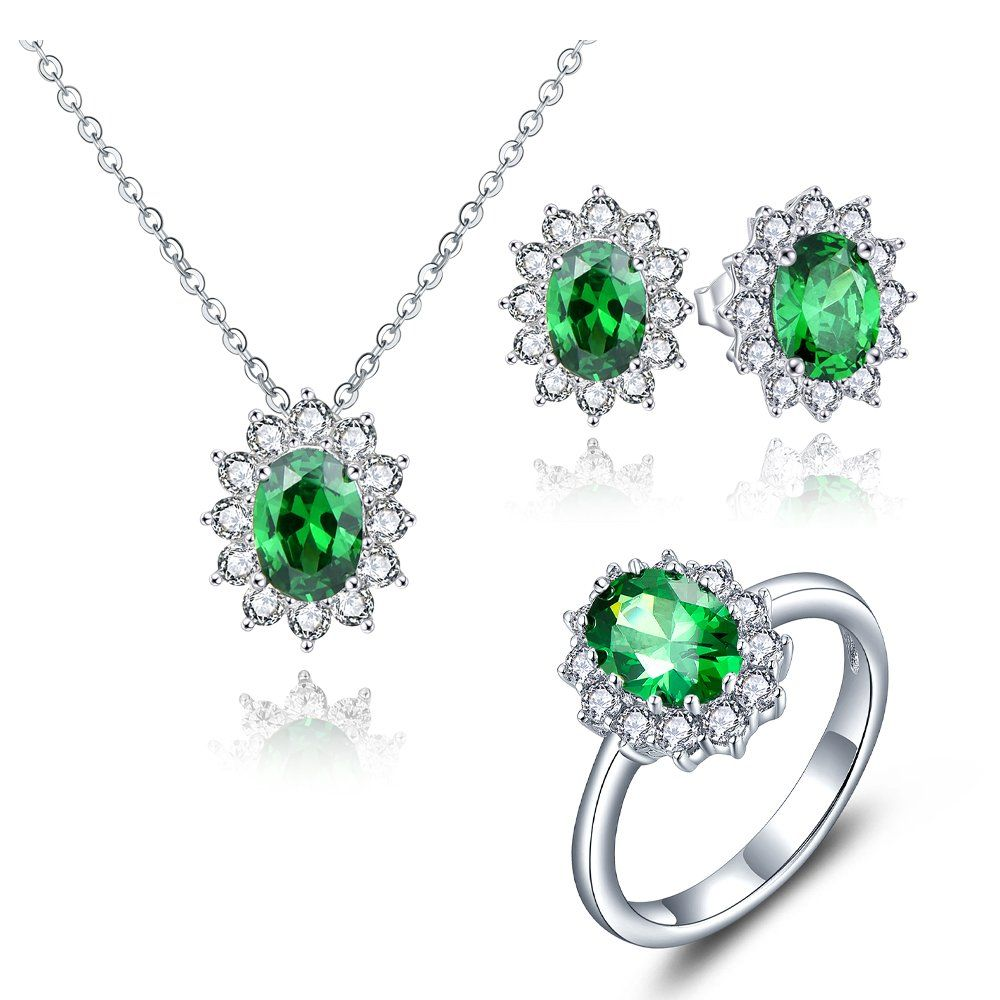 Yl sterling silver created emerald pendant necklace stud earrings