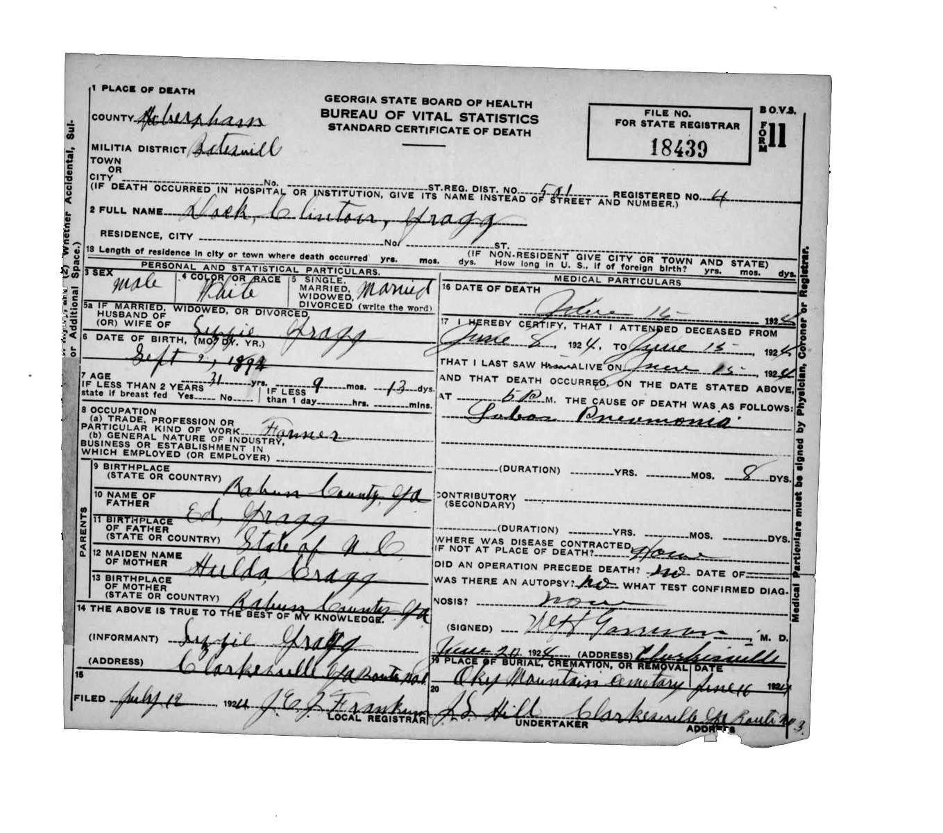 Doctor Clinton Gragg Death Certificate 1924 Batesville Habersham