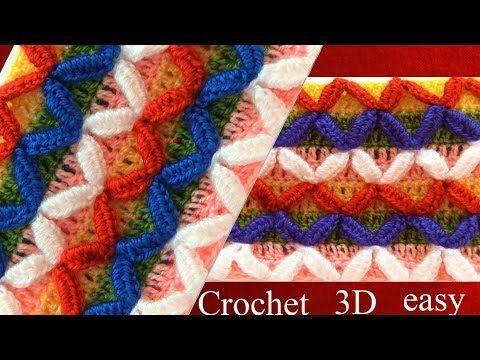 Punto serpentina confetti 3D tejido a crochet - Tejiendo Perú ...