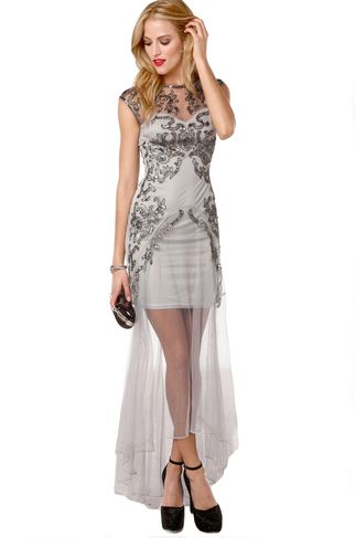 Silver Lining   Shop the @Barbara Ariano Australia Mesh Gown in Silver, Now Available at ShopAKIRA.com   AKIRA Chicago   November Clothing Arrivals   Holiday Gowns   New Year's Eve Dresses   NYE 2013   2014   Silver Beaded Dresses   Sequins Gown   Sparkly Dresses   Special Event Dresses   Maxi Dresses   Long NYE Dresses