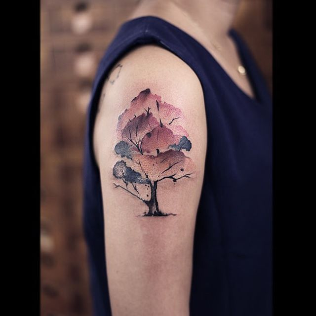 Watercolor Tree Tattoo Tree Tattoo Arm Tattoos Tree Tattoo Designs