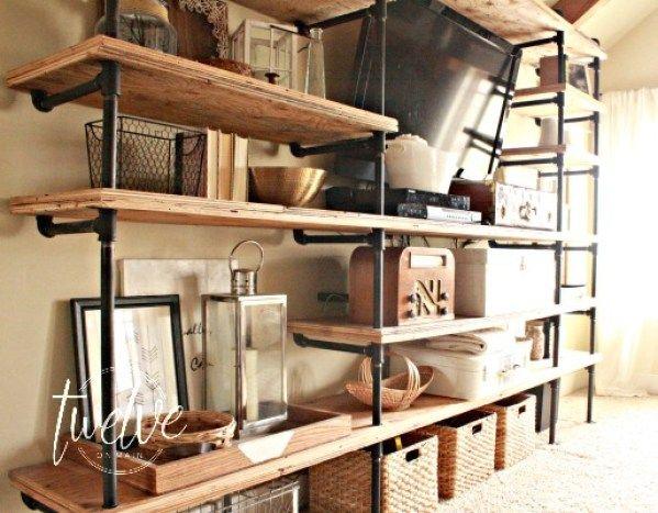 Diy Rohr Regale 4 Holz In 2019 Pinterest Regal Wohnzimmer Und