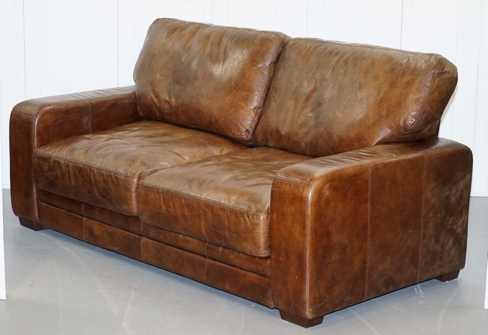 Magnificent Stunning Vintage Heritage Aged Brown Leather Halo Soho Sofa Short Links Chair Design For Home Short Linksinfo
