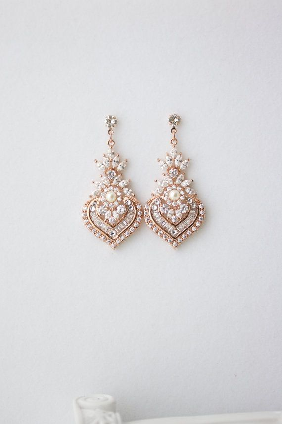 5ba36a671 Rose Gold Earrings Bridal Earrings Rose Gold Crystal Earrings Pearl Wedding  Earrings Vintage Wedding Jewelry EVIE DROP