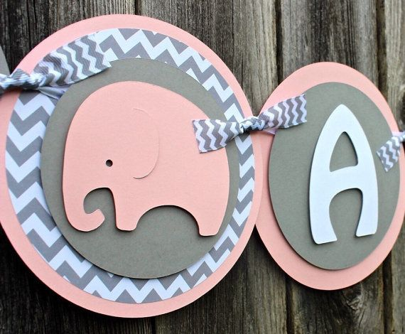 Pink Elephant Baby Shower Banner- It's a Girl or Name Elephant Banner for Baby Shower in Pink and Gray Chevron
