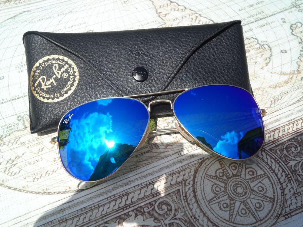 a8d0ca1c98 Ray Ban Aviator Sunglasses RB3025 112 17 Bue Mirror Lens Matte Gold Frame   RayBan  Aviator