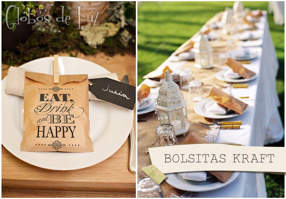 Bolsitas kraft decoracion vintage r stica recuerdos for Decoracion rustica para bodas