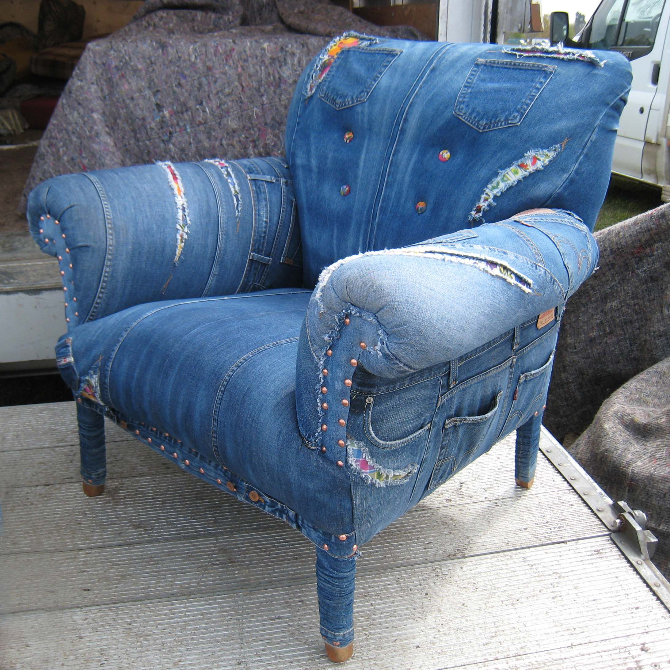 Denim Chairs Blue Jean Furniture Love This Chair Upholstered With