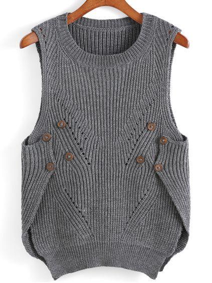Photo of Dip Hem Slit Buttons Knit Tank Top