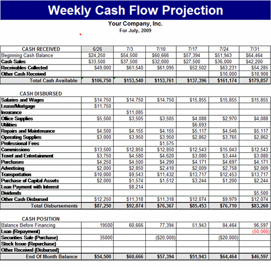 weekly cash flow projection s pinterest sample resume