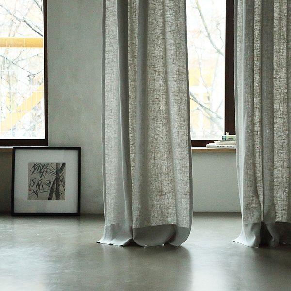 Silver Linen Curtain Panel With Pencil Pleats Lara Linencurtain