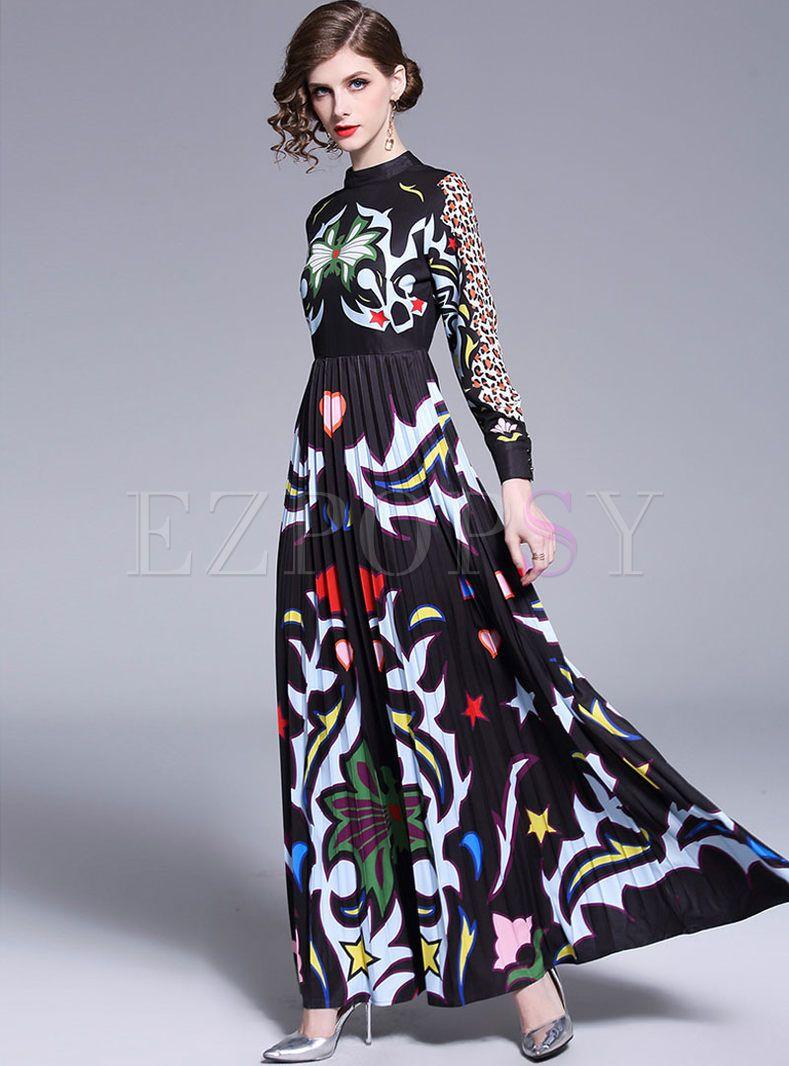 Retro Meck Neck High Waisted Print Maxi Dress Dresses Maxi Dress With Sleeves Printed Maxi Dress [ 1066 x 789 Pixel ]