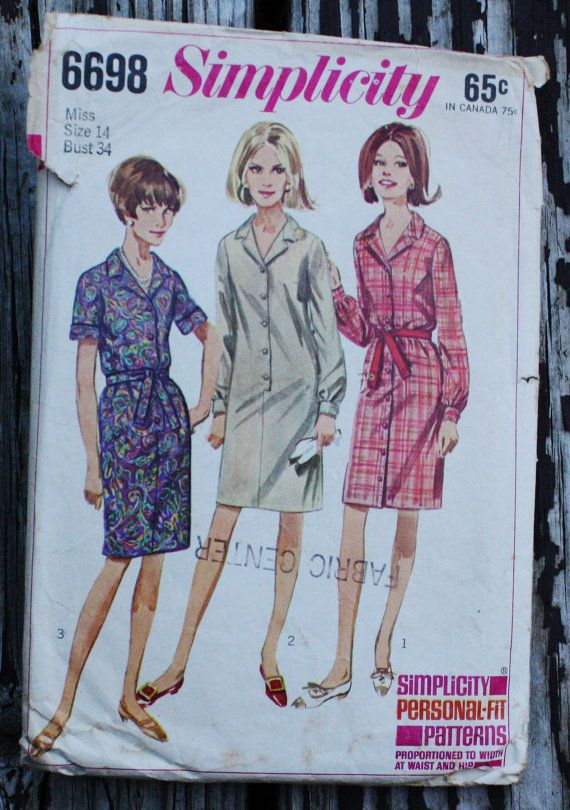 Simplicity 6698 1960s 60s Sheath Shirtwaist by EleanorMeriwether