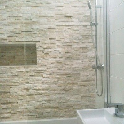 Love White Stacked Stone Feature Wall Tiles Stone Shower Walls