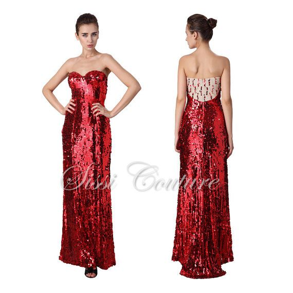 Full-Length Women's Sweetheart Red Lux Sequins Knit Evening Gown