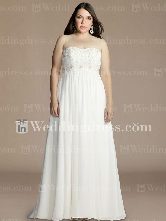 Maternity Chiffon Empire Plus Size Wedding Gown PS180 | Someday ...