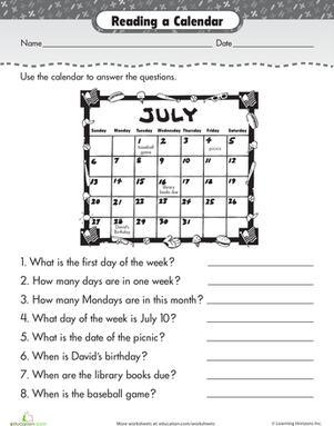 Reading A Calendar Teaching Worksheets Calendar Worksheets