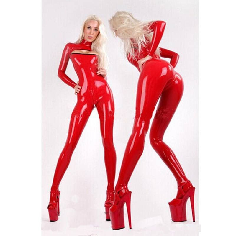 Red Rubber Suite: Women Sexy Red Latex Catsuit Open Breast With Socks For