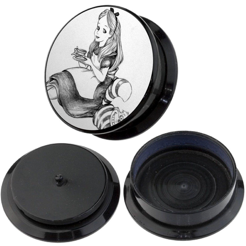 Bodfx Exclusive Ear Stretching Plugs 1 Pair Alice in Wonderland Ear Gauges | eBay