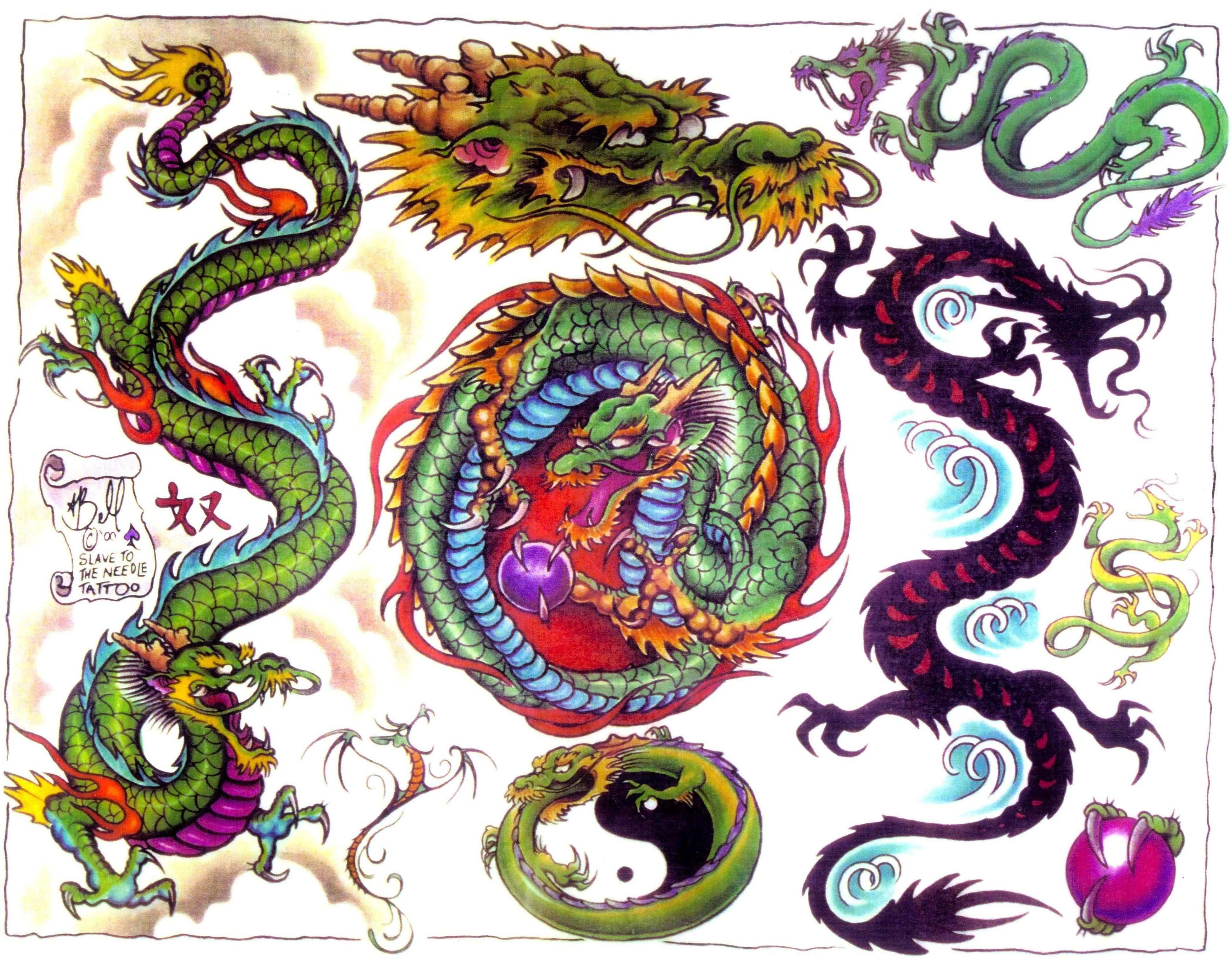chinese red green dragons face tattoo dragons pinterest