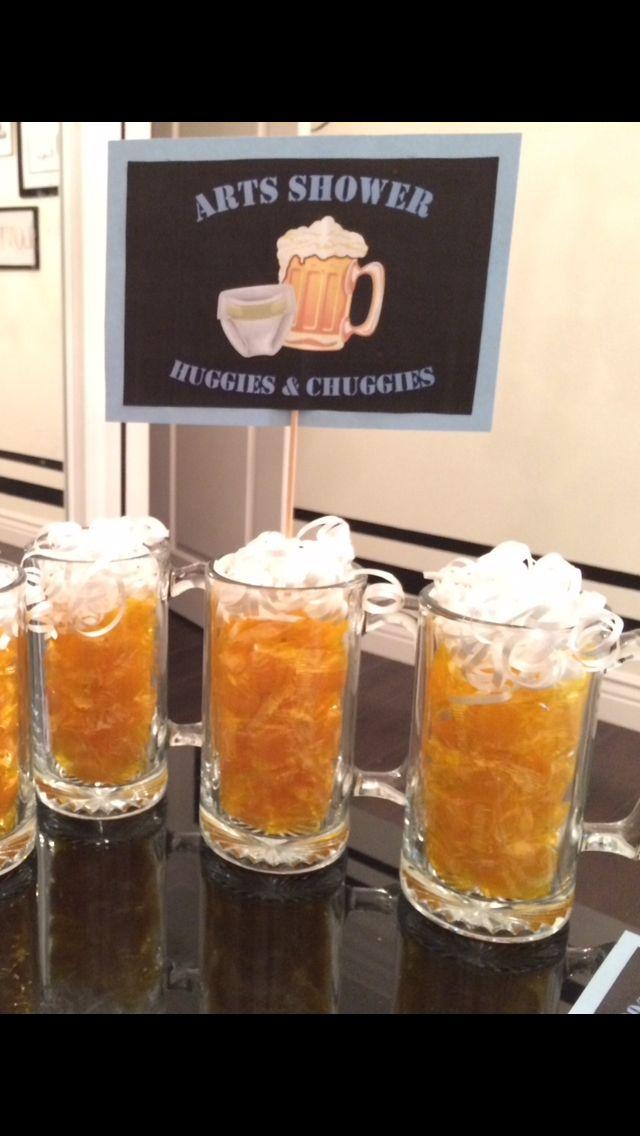 Man shower beer mugs Huggies and Chuggies Centerpieces @CharmeddLife | Baby #2 | Pinterest | Man ...