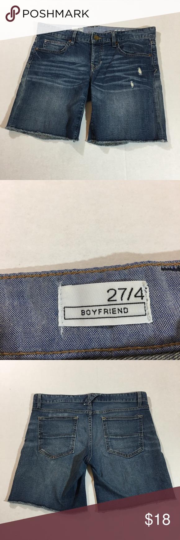 "dbb382bb5161 Gap boyfriend denim jean shorts Women's gap boyfriend jean shorts. Size 27/4.  Approx measurements laying flat: Waist 16.5"" Rise 8"" Inseam 7.5"" Gently  used."