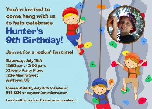 kids rock climbing party invitation Google Search F5 Pinterest