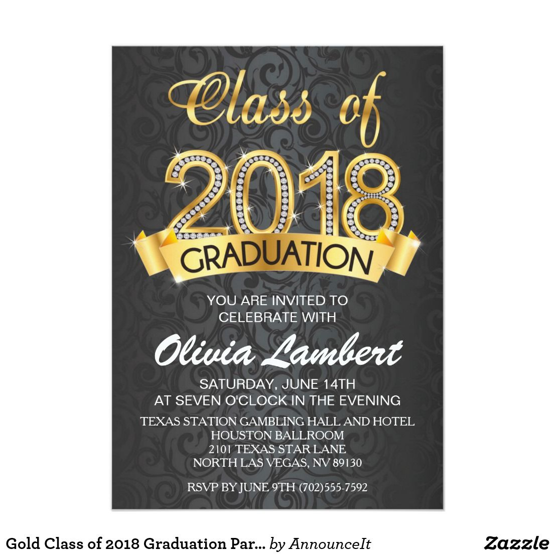 Gold Class of 2018 Graduation Party Invitations | Pinterest | Party ...